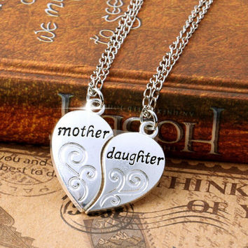 Natalie Mother Daughter Heart Pendant Necklace