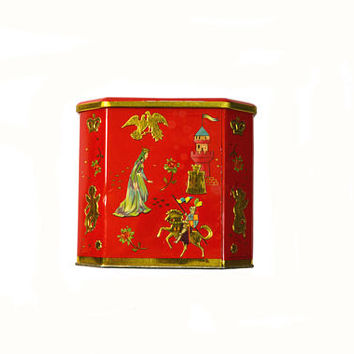 Vintage Red Baret Ware Tin Cupids Tin Midevil Tin Red Metal Tin Red and Gold Biscuit Tin Box Valentines Day Gift
