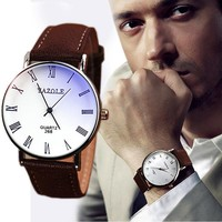 HOTLuxury Fashion Faux Leather Mens Analog Watch Watches Brown Strap