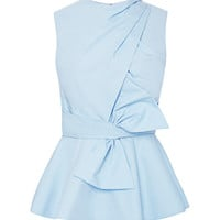 Prabal Gurung Draped-Bow Cotton Peplum Top Light Blue