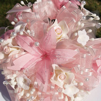 PINK Wedding Bouquet Vintage matching headpiece included