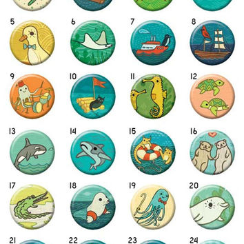 Ocean Friends Buttons - Mix and Match (Set of 4)