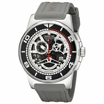 Invicta 18945 Men's Sea Vulture Reserve Skeleton Dial Grey Silicone Strap Chronograph Watch