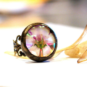 Real Flower Statement Ring, Natural Glow Rainbow Antiqued Transparent Mirrored Dichroic Glass Doublet Adjustable Ring, Botanical Jewelry