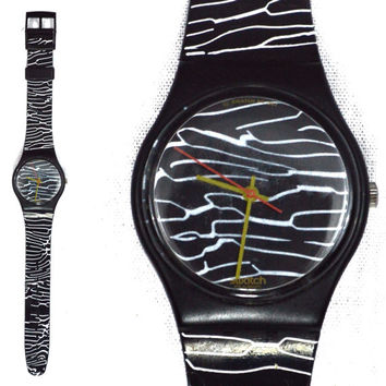Vintage 80s Swatch Quartz Swiss Watch Marmorata GB 119 1987 Fall Winter Collection