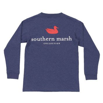 Youth Heathered Authentic Long Sleeve Tee in Washed Navy by Southern Marsh