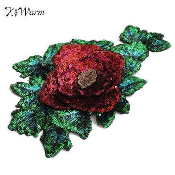 ac NOOW2 DIY Red Rose Green Flower Sequined Tulle Patch Embroidered Applique Sew on Cloth for Garment Clothes Dress Bags Accessory