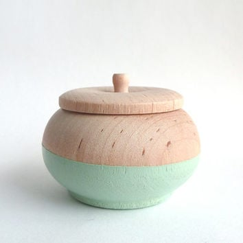 Mint green jewelry box, wood jewelry box, tiny box, round wood box, painted wood box, pastel