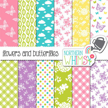 Spring Digital Paper – flower, gingham, & butterfly paper in spring colors - floral digital paper - printable paper - commercial use
