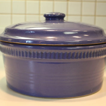 Antique Rare American Periwinkle Blue Stoneware Mixing Bowl With Lid Farm House Bowl Decor