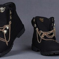 Black And White Customized Timberland Boots - Beauty Ticks