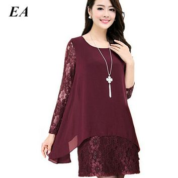 Women chiffon summer dresse Lace Crochet Long sleeve shirt  Plus Size 4xl 5xl fashion lady tops 2016 women blouse  DTCX112