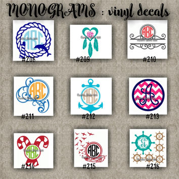 MONOGRAM vinyl decals | name | initial | decal | sticker | car decals | car stickers | laptop sticker - 208-216