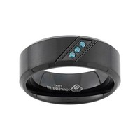 Blue Diamond Accent Black Ion-Plated Stainless Steel Wedding Band - Men