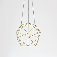 Brass Orb Himmeli / Modern Hanging Mobile / Geometric Sculpture / Air Plant Hanger