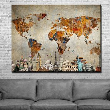 World Map Monuments Canvas Set