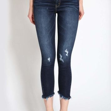 Women's High Rise Ankle Skinny Denim with Frayed Hem