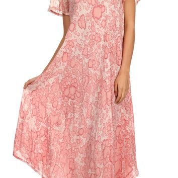 Sakkas Lila Freckled Dyed Cap Sleeve Scoopneck Long Caftan Dress / Cover Up
