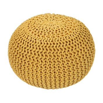 Handmade Round Knitted Pouf | Vibrant Yellow | 50x35cm | GFURN
