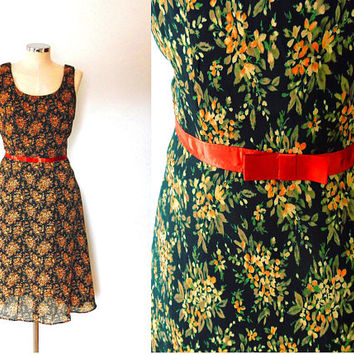 Orange flower dress / black / brown / satin / bow / vintage / 1950s style / summer / chiffon / lined / mid length / zip / floaty shift dress