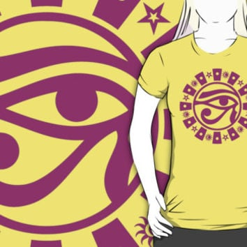 Eye of Horus with Sun, Moon & Stars T-Shirt. Tee shirts tops clothes clothing Egyptian pagan Eye of Ra occult