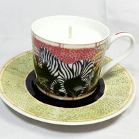 Upcycled Jungle Safari by Siddhia Hutchinson Cup and Saucer Soy Candle/ Repurposed Teacup Candle/Zebra Palm Tree Tea Cup Scented Soy Candle