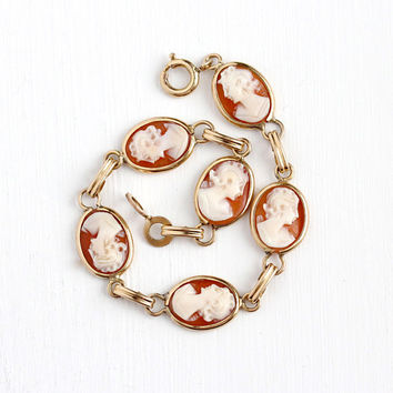 Vintage Cameo Bracelet - 12k Rosy Yellow Gold Filled Genuine Carved Shell Lady - Retro 1940s Oval Six Panel GF Women 40s Jewelry
