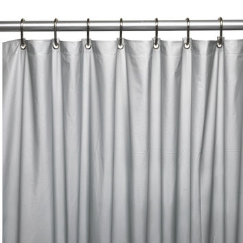 RL Plastics Vinyl Magnetic Shower Curtain Liner with Grommets, Silver