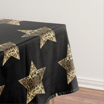 Elegant Black Gold Look Stars Pattern Chic Tablecloth