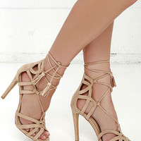 Resort and Spa Nude Suede Lace-Up Heels