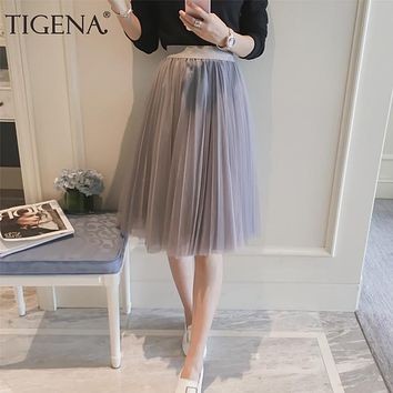 TIGENA Tulle Skirt Women 2018 Summer A-line Midi Skirts Female High Waist Tutu Pleated Skirts For Women School Sun Skirt Black