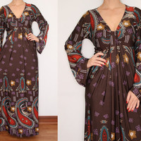 Long Sleeve Maxi Dress Paisley Dress Flared Sleeve in Brown for Women