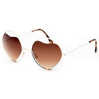 Full Tilt Heart Center Round Sunglasses Gold One Size For Women 25385662101