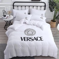White VERSACE Comfortable Soft 4 Bedding Set Conditioning Throw Blanket Quilt For Bedroom Living Rooms Sofa