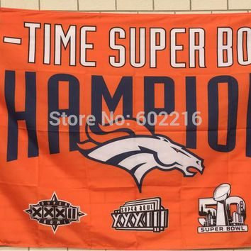 Denver Broncos 3 Time Super Bowl Champions Large Outdoor Flag 3ft x 5ft Football Hockey Baseball USA Flag