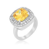 Yellow Bridal Cocktail Ring, size : 07