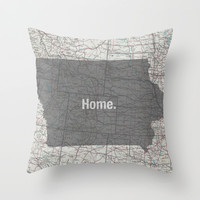 Iowa: my home. Throw Pillow by Elle Benway