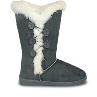 Women's 13-inch 5-Button Microfiber Boots - Gray (Special Offer)