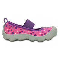 Crocs Magenta & Gray Duet Busy Day Galactic Flat - Girls Size:6