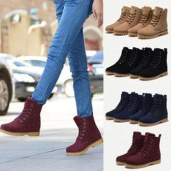 ca DCCKTM4 Womens Mens Genuine Leather Mid Calf Boots Snow Boots Warm Winter Lace Up Shoes lovers shoes # lcmqstore [8384254023]