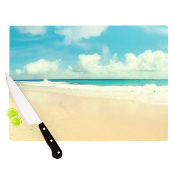 "Sylvia Cook ""Beach Time"" Brown Blue Cutting Board"
