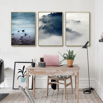 Abstract Mountain Cloud Landscape Wooden Unframed  Scandinavian Canvas Painting Posters Prints Nordic Wall Art  Home Decor
