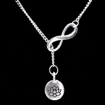 Infinity Lotus Flower Charm Ohm Knowledge Life Karma Y Lariat Style Necklace