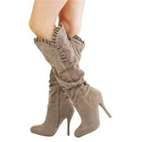 Qupid Mirror14 Taupe Ruffle Trim Suede Knee Boots and Womens Fashion Clothing & Shoes - Make Me Chic