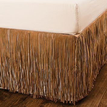 Pendleton Fringed Suede Bed Skirt - Twin