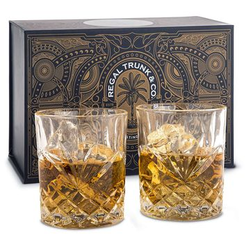 Diamond Cut Whiskey Glass Set of 2 packaged in a Spectacular Gift-Box | Old Fashioned Lead-Free Crystal Whiskey Tumblers for Whisky Bourbon Scotch or Rum | Weighted Ergonomic Design | 10 Ounce DWsafe.