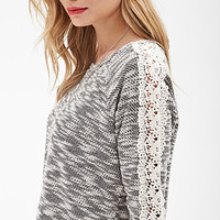 LOVE 21 Crochet-Trimmed Boucle Sweater Black/Cream