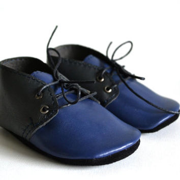 Handmade soft sole leather baby shoes / Baby boy oxford shoes / Navy grey baby boy shoes / Ready to ship.