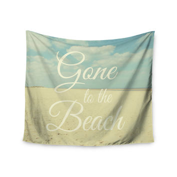 "Alison Coxon ""Gone To The Beach"" Tan Blue Wall Tapestry"