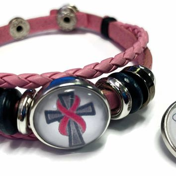 Angel Cross Breast Cancer Awareness Snaps On Pink Leather Bracelet W/2 Snap Jewelry Charms New Item